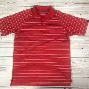 Oakley red striped men's polo Sz L